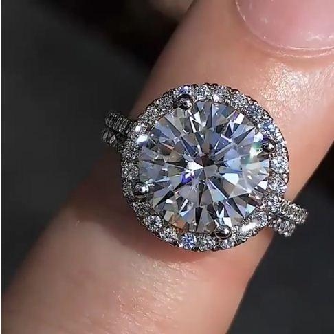215ct Brilliant Cut Real Moissanite Luxury Engagement Ring Bridal Wedding Ring Set 14k White Gold
