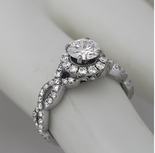 Twisted 2.10Ct Near White Moissanite Solitaire Infinity Engagement Wedding Ring 14K White Gold