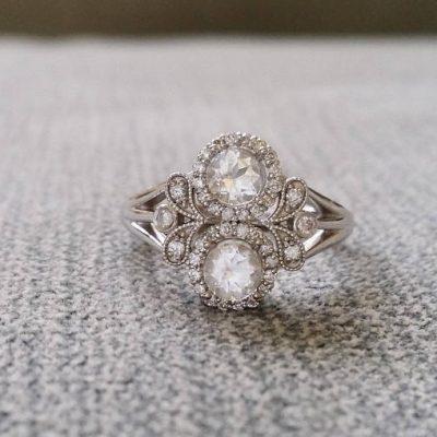 2.Carat Off White Moissanite Art Deco Bridal Wedding & Engagement Ring 14k White Gold