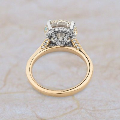 Certified 2.25Ct Brilliant Cut Real Moissanite Diamond Engagement & Wedding Ring 14k Yellow Gold