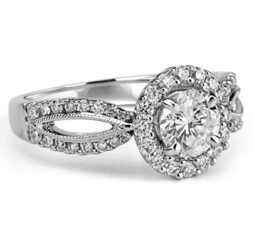 2.00 Carat Center White Real Moissanite Diamond Engagement Wedding Ring 14k White Gold