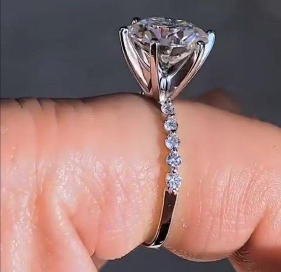 2.05Ct Excellent Cut Moissanite Diamond Solitaire Engagement & Wedding Ring 14k White Gold