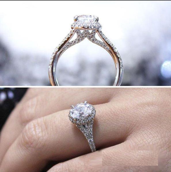 1.88Ct Real Moissanite Diamond Halo Engagement & Wedding Bridal Ring 14k White Gold
