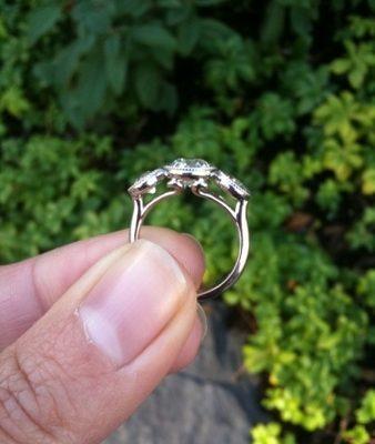 1.92 Ct Near White 3 Stone Real Moissanite Bezel Style Wedding Engagement Ring 14k White Gold