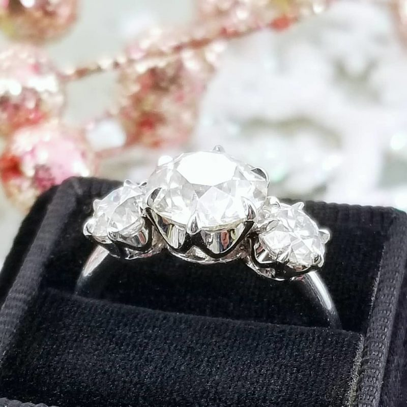 2.25Ct 3 Stone Round Cut Moissanite Solitaire Engagement & Wedding Ring 14k White Gold