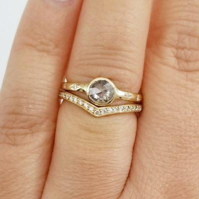 1.88Ct Bezel Brilliant Cut Near White Moissanite Wedding Engagement Ring Set 14k Yellow Gold