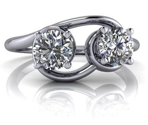 Certified 2.Ct Near White Round Moissanite 2 Stone Engagement & Wedding Ring 14k White Gold