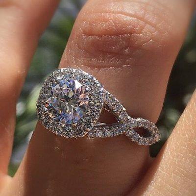 2.Ct Round Cut Real Moissanite Cushion Shape Halo Engagement & Wedding Ring 14k White Gold