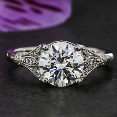 2.05Ct Near White Moissanite Diamond Art Deco Style Engagement Wedding Ring 14k White Gold