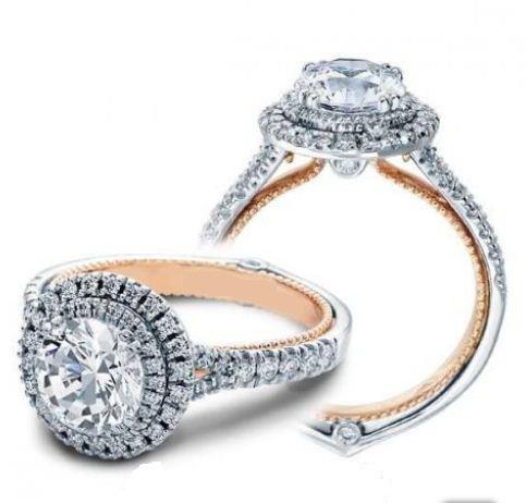 2.00Ct Real Round Moissanite Double Halo Diamond Engagement Ring Wedding Ring 14k White Gold
