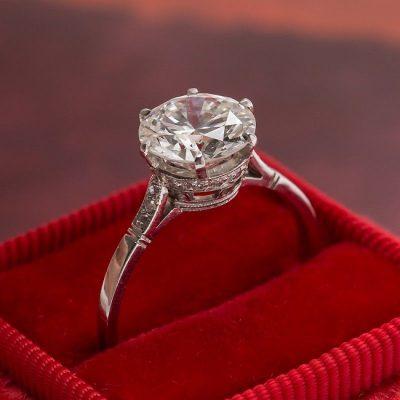 2.15Ct Real Round Shape VVS1 Moissanite Diamond Engagement & Wedding Ring 14k Rose Gold