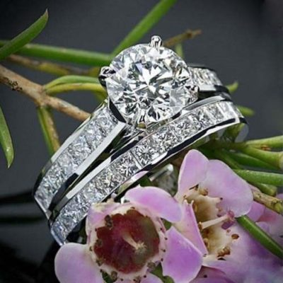 2.15Ct Round Cut Solitaire Moissanite Diamond Engagement Ring Wedding Set 14k White Gold
