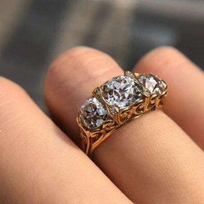 2.28Ct Brilliant Cut 3 Stone Moissanite Diamond Bridal Wedding & Engagement Ring 14k Yellow Gold
