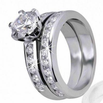 2.18Ct Real Round Near White Moissanite Engagement Ring Wedding Set 14k White Gold