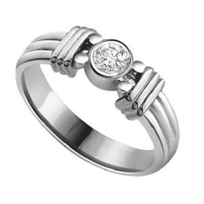 1.25Ct Near White Moissanite Diamond Bezel Engagement & Wedding Ring 14k White Gold