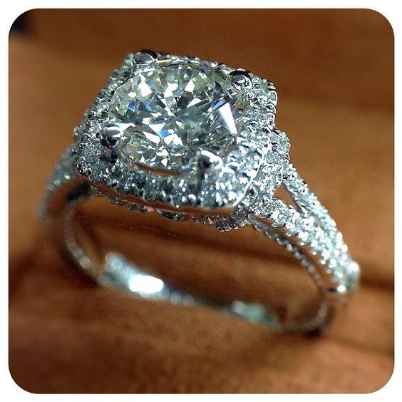 2.15Ct Round Cut VVS1 Moissanite Diamond Two Shank Engagement Wedding Ring 14k White Gold