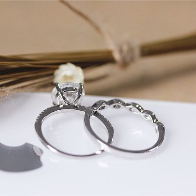 2.15Ct Solitaire Round Cut Moissanite Diamond Bridal Wedding & Engagement Ring Set 14k White Gold