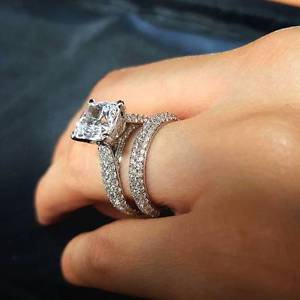 2.20Ct Cushion Shape Solitaire Diamond Wedding Ring & Engagement Ring 925 Sterling Silver