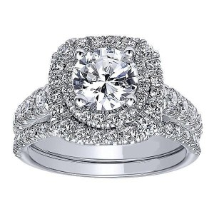 2.40Ct Round Cut White Moissanite Double Halo Engagement & Wedding Ring Set 925 Sterling Silver