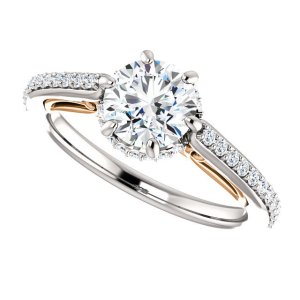 2.Ct Real Round Cut White Moissanite Solitaire Unique Engagement Ring 925 Sterling Silver