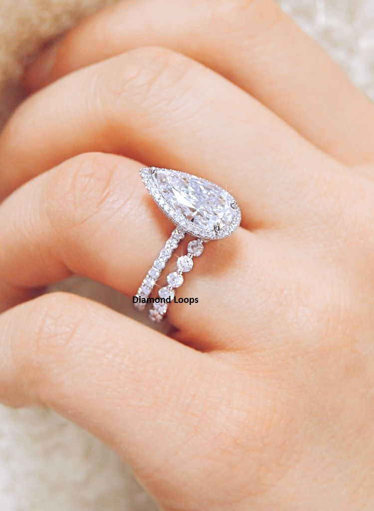 2.25 ct White Fancy Princess Cut Moissanite 925 Sterling Silver Engagement Ring
