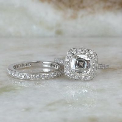 2.10Ct Bezel Cushion Cut Diamond Bridal Band Set & Engagement Ring 925 Sterling Silver