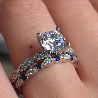 2.18Ct Real Round Cut Diamond Bridal Band Set & Engagement Ring 925 Sterling Silver