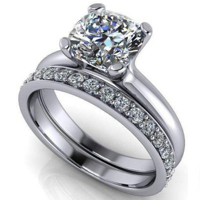 2.10Ct Solitaire Cushion Cut Diamond Bridal Set & Engagement Ring 925 Sterling Silver