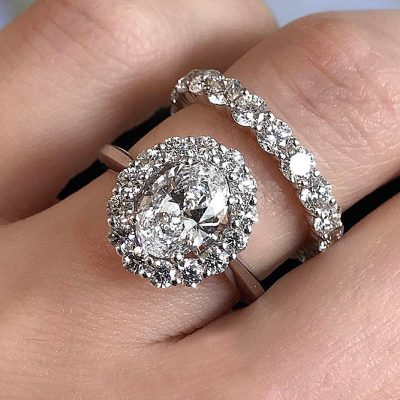 2.16Ct Beautiful Wedding Ring Band Set & Oval Halo Diamond Engagement Ring 925 Sterling Silver