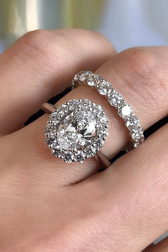 216ct Beautiful Wedding Ring Band Set Oval Halo Diamond Engagement Ring 925 Sterling Silver