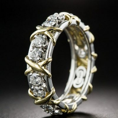 1.62Ct Real Round Band Brilliant Cut Diamond Engagement & Anniversary Ring 925 Sterling Silver
