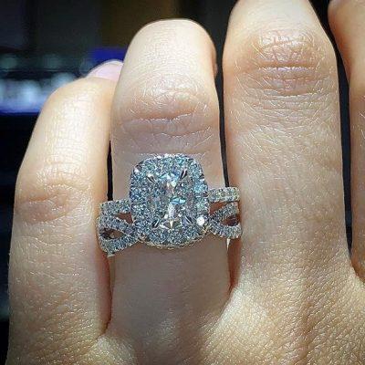 2.18Ct Brilliant Cushion Cut Diamond Bridal Set & Engagement Ring 925 Sterling Silver