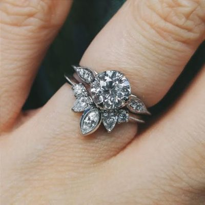1.88Ct Forever Round Bezel Diamond & Pear Cut Bridal Set Engagement Ring 925 Sterling Silver