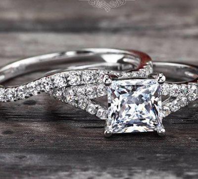 1.88Ct Forever princess Cut VVS1 Diamond Split Shank Engagement Ring Set 925 Sterling Silver
