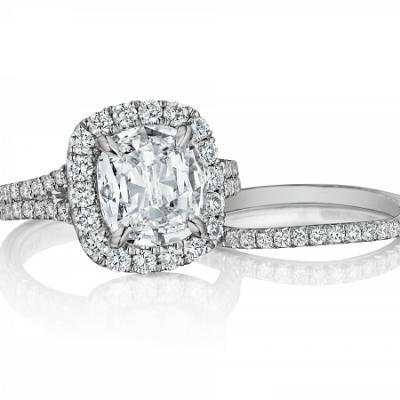 2.15Ct Cushion Cut Diamond Two Shank Engagement Ring Wedding Set 14k White Gold