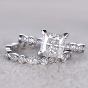 2.00Ct Fancy Princess Cut Real Moissanite Bridal Set Engagement Ring 14k White Gold