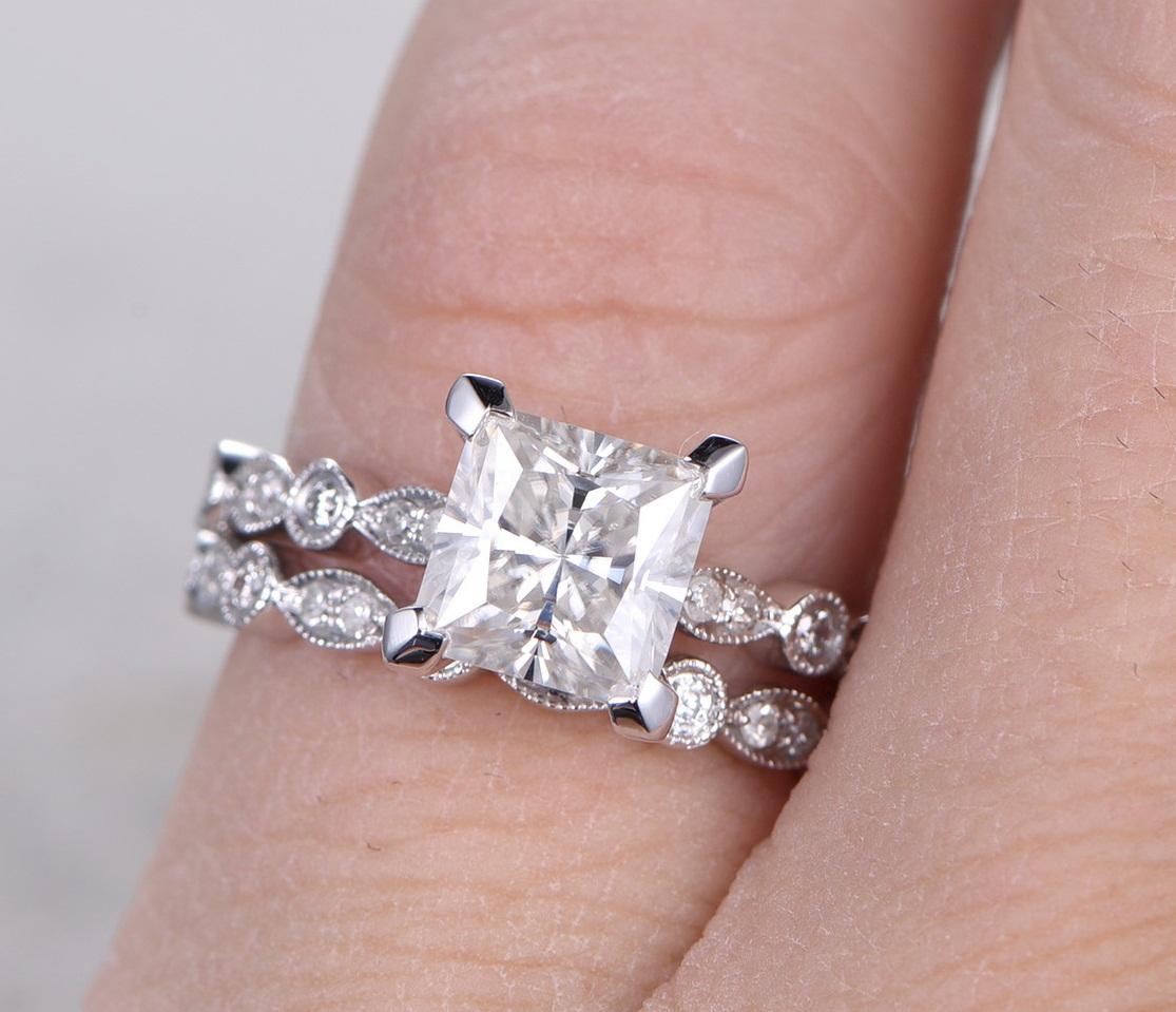 2.00Ct Fancy Princess Cut Real Moissanite Bridal Set Engagement Ring ...