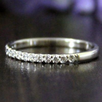 1.30Ct Half Eternity Band Real Moissanite Engagement Ring 925 Sterling Silver Wedding Band
