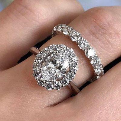 2. Carat Oval Genuine Diamond Engagement Wedding 2 Ring Set in 14k White Gold