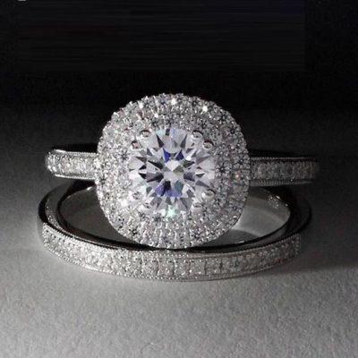 2.18 Ct White Diamond Micro Pave Engagement Ring & Bridal Matching Band Set 14k White Gold