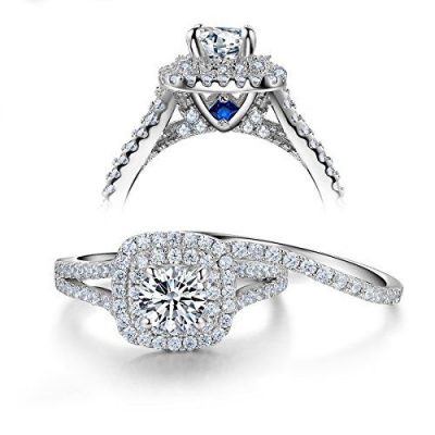 2.14Ct Excellent Round Diamond Wedding Set & Engagement Ring 925 Sterling Silver