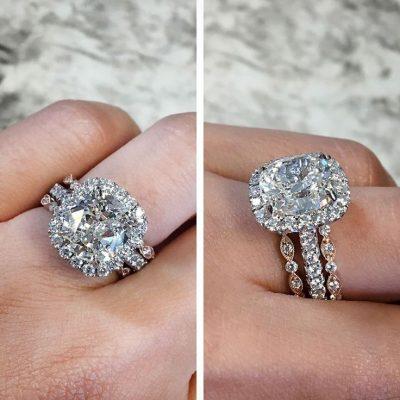 2.15Ct White Cushion Diamond 3 Peace Engagement Wedding Ring Sets 14k White Gold