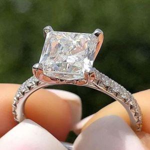 Certified 2.25Ct Princess Cut Diamond Wedding & Engagement Ring Solid 14k White Gold