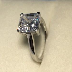2.00 Carat Forever Asscher Cut Diamond Engagement Ring 925 Sterling Silver
