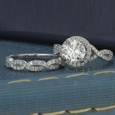 2. Ct Near White Diamond Engagement Ring & Twisted Wedding Band Set 14k White Gold