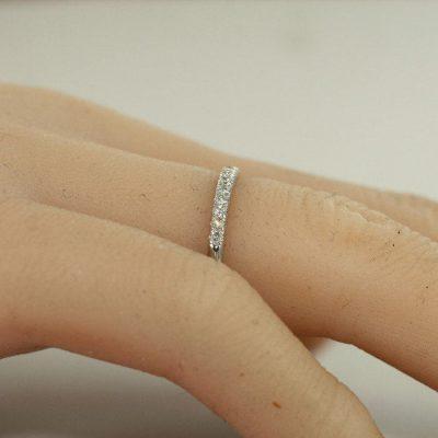 1.30Ct Off White Diamond Half Eternity Wedding Band & Anniversary Ring Solid 14k White Gold
