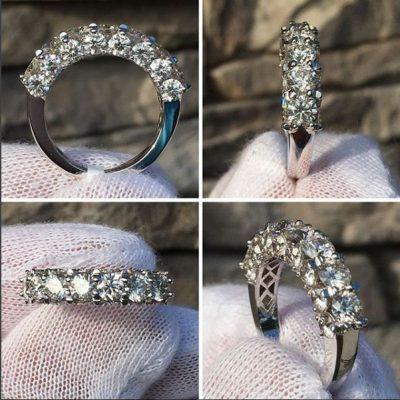 1.85 Ct Round VVS1 White Diamond Wedding Band & Anniversary Ring 14k Solid White Gold
