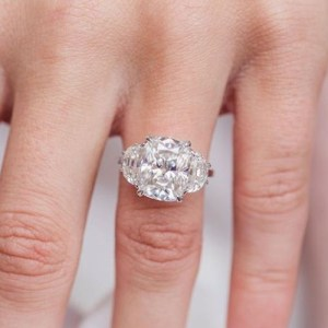 2.65Ct Excellent Cushion Diamond Wedding Ring Engagement In 14k White Gold