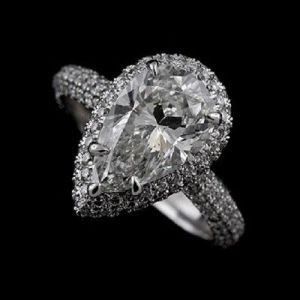 Certified 2.50Ct Pear Cut Diamond Micro Pave Engagement Wedding Ring Solid 14k White Gold