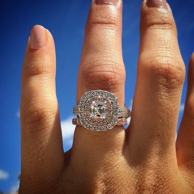 1.30 Ct Cushion Cut Moissanite Diamond Halo Engagement Wedding Ring Set 14k White Gold
